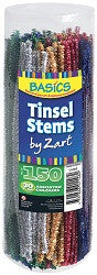 Tinsel Chenille Stems 30cm Assorted Colours Pack of 150 - CH065 - Collins Craft and School Supplies