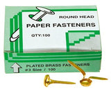 Paper Fasteners Pack of 100 - Collins Craft and School Supplies