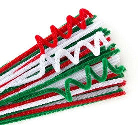 Chenille Stems Christmas Colours Pack of 100 - CSC6100 - Collins Craft and School Supplies