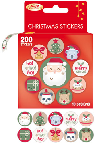 Christmas Stickers on a Roll Pack of 200
