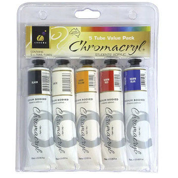 Chromacryl Student Acrylic Paint Set of 5 Warm Colours