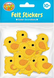 Easter Felt Stickers Pack of 10 Chickens - CR0521