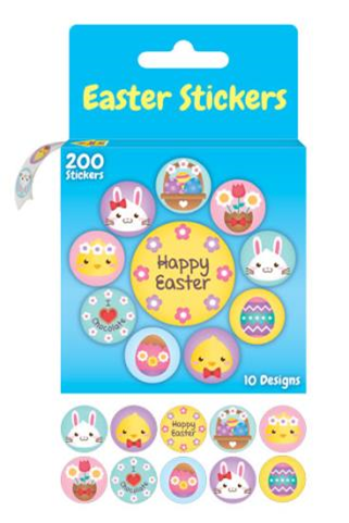 Easter Stickers 10 Designs Pack of 200 - CR0418 - Collins Craft and School Supplies