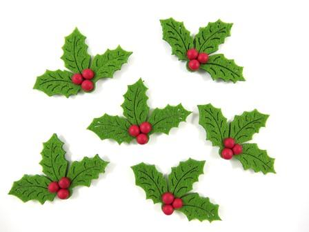 Felt Stickers Xmas Holly with Adhesive Pack of 20 - FES1985 - Collins Craft and School Supplies