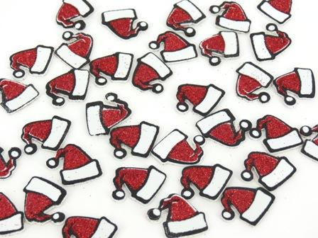 Foam Stickers Santas Hats Glitter Pack of 64 - FSX9595 - Collins Craft and School Supplies