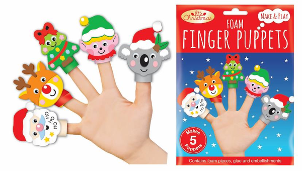 Foam finger Puppets Pack of 5 - Christmas