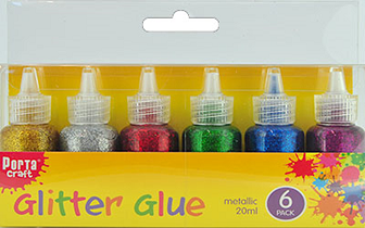 Metallic Glitter Glue Pack of 6 - 138489