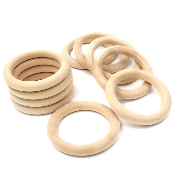 Wooden Macrame Rings 2""