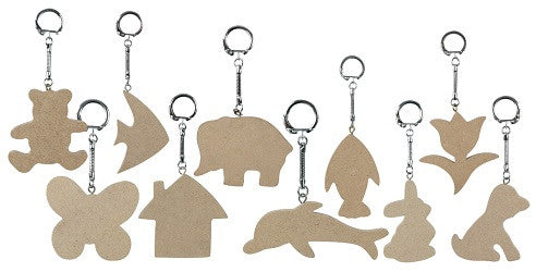 Wooden Key Ring Tags Pack of 10 - KG200 - Collins Craft and School Supplies