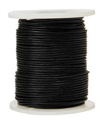 Leather Cord Black 1.5mm x 50mtr - LJ305 - Collins Craft and School Supplies