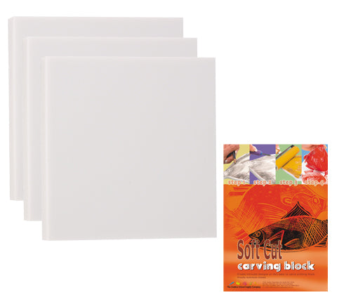 Soft Carving Block 11cm x 11cm Pack of 10 - LT140 - Collins Craft and School Supplies