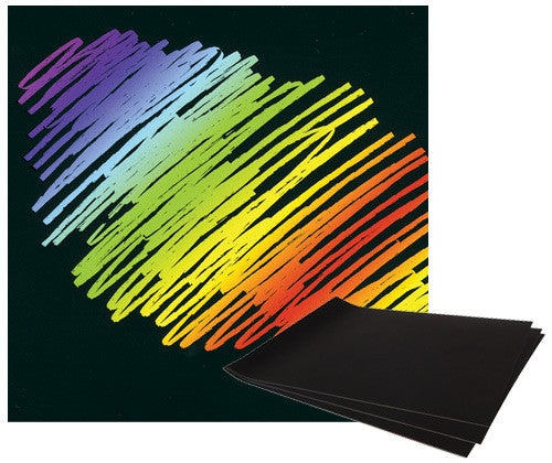 Scratch-Art Budget Rainbow Card Pack of 12 - PA876 - Collins Craft and School Supplies