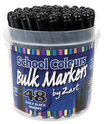 Black School Markers Pack of 48 - PM705 - Collins Craft and School Supplies