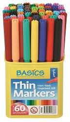 Basic Thin Coloured Markers - Collins Craft and School Supplies