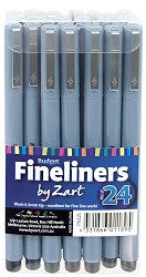 Pens Budget Fineliner Black Pack of 24 - PN121 - Collins Craft and School Supplies