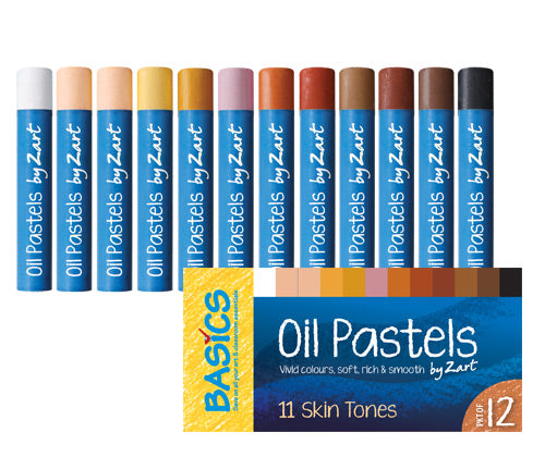 Basics Oil Pastels Skin Tone Asst 12's - PS042 - Collins Craft and School Supplies