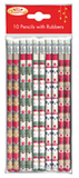 Christmas Pencils with Erasers Pack of 10 - XM0145