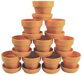 Plastic Flower Pot and Saucer Pack of 10 - 161014 - Collins Craft and School Supplies