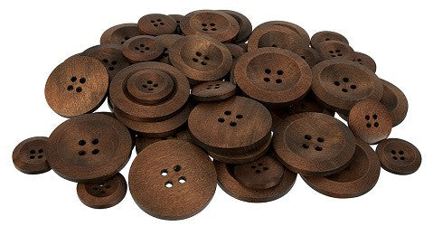 Wooden Button Pack of 50 - SM020 - Collins Craft and School Supplies