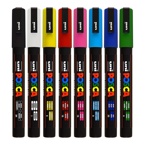 POSCA Markers Fine 0.9-1.3mm Single Colours PC-3M - - Collins Craft and School Supplies