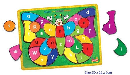 Puzzles - Alphabet Butterfly Puzzle - W521-LBT002 - Collins Craft and School Supplies