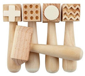 Wooden Pattern Hammers Pack of 5 - WPH5 - Collins Craft and School Supplies