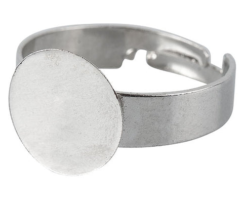 Adjustable Ring Bases Silver Pack of 20 - FI065