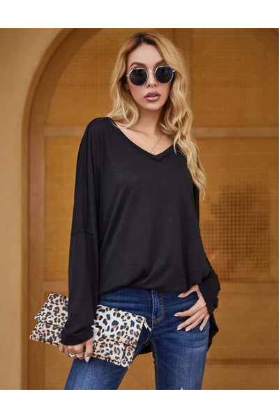 Thalia V-Neck Slouchy Inside-Out Tee