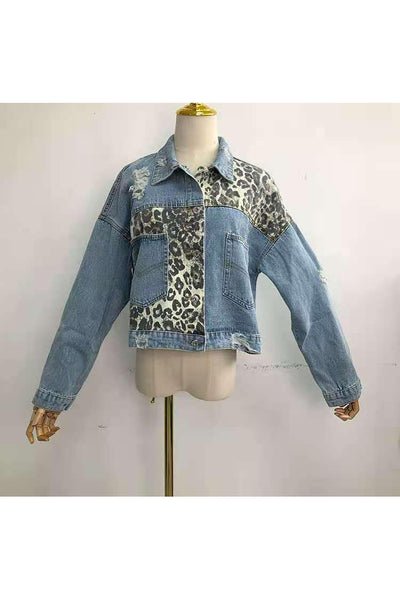 Distressed Cheetah Denim Jacket