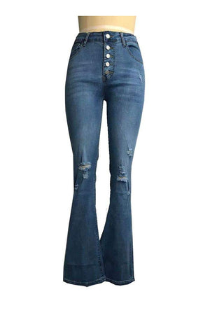 Distressed Button Fly Flared Jeans