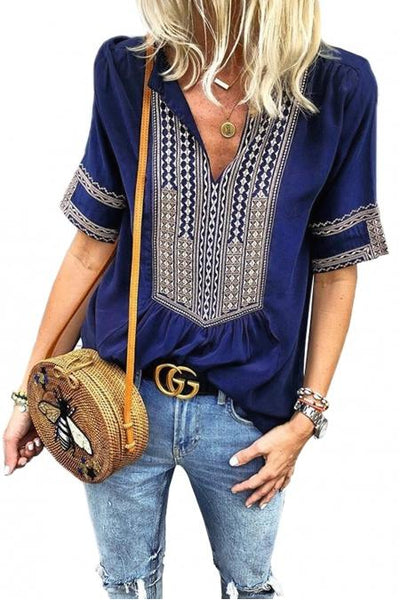 Isla Boho Embroidered Tunic Top Short Sleeve - She & Sho