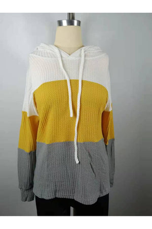Jenna Color Block Waffle Hoodie