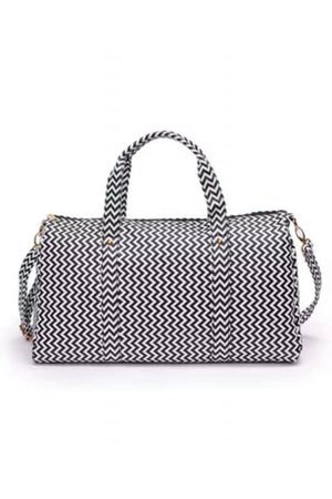 Patterned Vegan Leather Weekender Bag - Della Direct