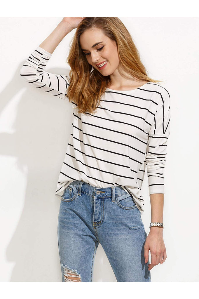 White Striped Drop Shoulder T-shirt - FINAL SALE - Della Direct