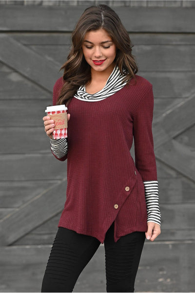 Breanna Striped Contrast Cowl Neck Waffle Top - Della Direct