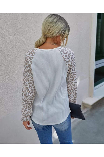 Cheetah Sleeve Ribbed Lightweight Sweater