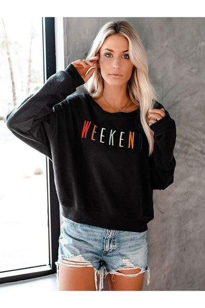 Embroidered Weekend Sweatshirt - Della Direct