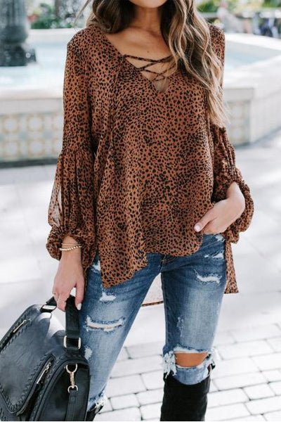 Tessa Lace-Up Blouse