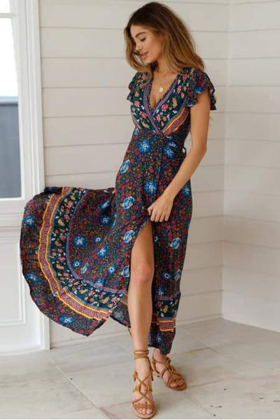 Boho Printed Wrap Dress - Della Direct