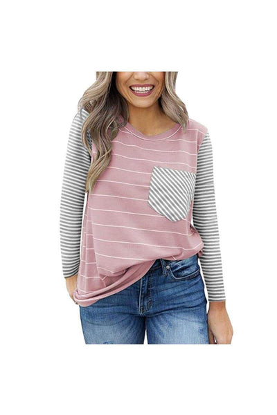 Lizzy Long Sleeve Striped Pocket Tee - Della Direct