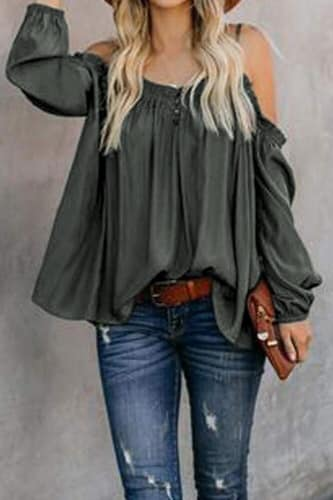 Gabby Ruffled Off-The-Shoulder Peasant Blouse - Della Direct