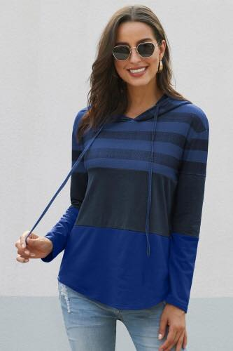 Janet Coloblocked Striped Hoodie - Della Direct