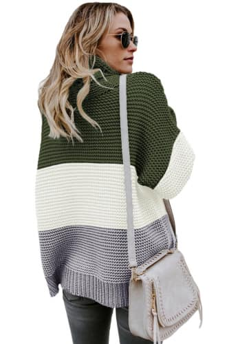 Janette Thick Block Striped Turtleneck Sweater - Della Direct