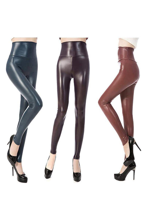 Colored Faux Leather Tummy Control Leggings
