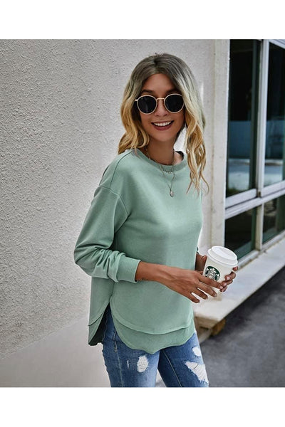 Stacie Layered Drop Sleeve Pullover Sweatshirt