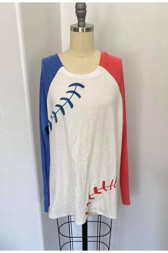 Take Me Out To The Ballgame Raglan Pullover - Della Direct
