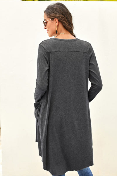 Bastille High-Low Buttoned Cardigan Duster - Della Direct