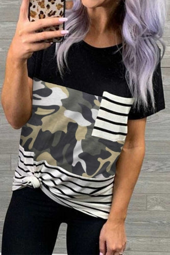 Fallon Patchwork Print Pocket Tee - Della Direct