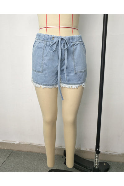 Fringe Denim Drawstring Shorts