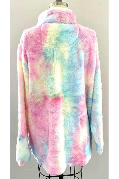 Watercolor Ultra-Soft Furry 1/4 Zip Pullover - Della Direct